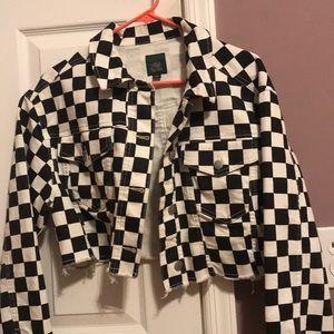 Checkered denim jacket